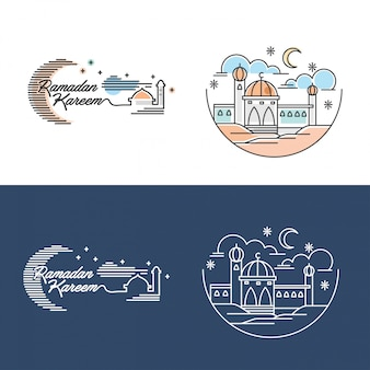 Moschea di ramadan kareem illustration outline and color vector
