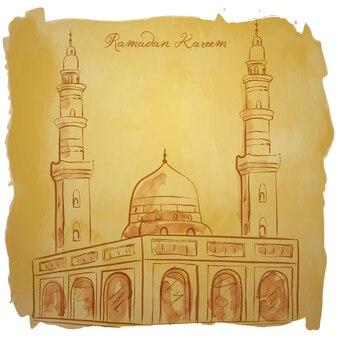 Moschea di schizzo dell'acquerello di vettore