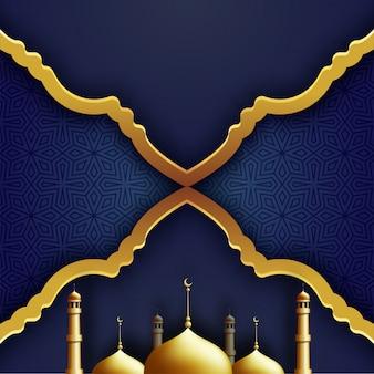 Moschea dorata su fondo modellato islamico blu.