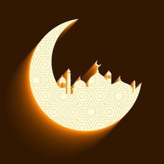 Moschea e la luna di fondo