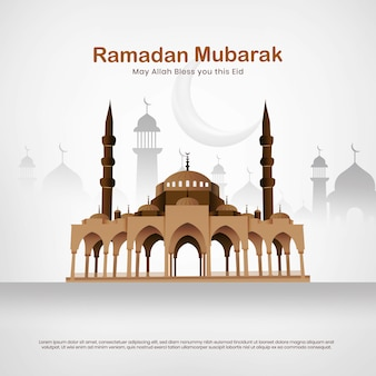 Moschea eid mubarak vector