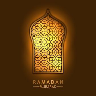 Moschea finestra d'oro per il ramadan mubarak