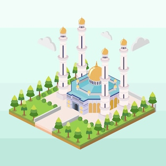 Moschea hassanil bolkiah del brunei in isometrica