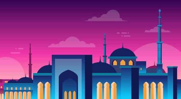 Moschea musulmana di nabawi di paesaggio urbano che costruisce la vista di notte di religione