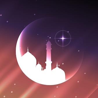 Moschea musulmana lucida con il disegno della luna