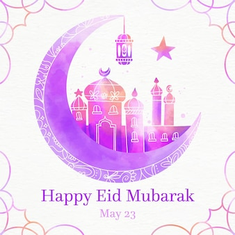 Moschea viola sfumata eid mubarak dell'acquerello