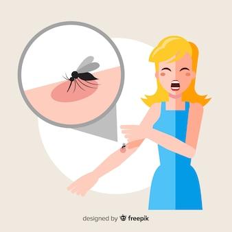 Mosquito mordere una persona con design piatto