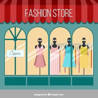 Mostra finestra di negozio di moda