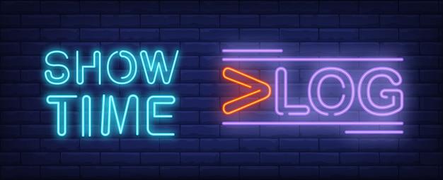 Mostra il tempo sull'insegna al neon di vlog. lettering creativo con linee aggiuntive.