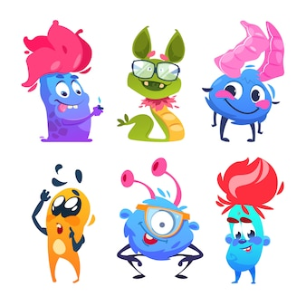 Mostri dei cartoni animati personaggi divertenti mostro