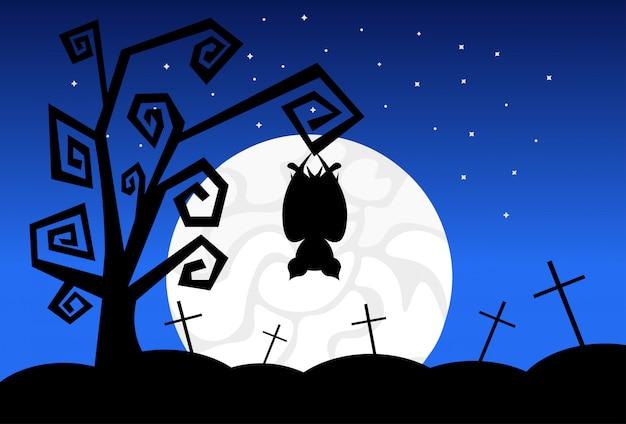 Mostri della siluetta nella festa felice di concetto di scherzetto o dolcetto dell'insegna di halloween delle ombre spaventose di luce della luna