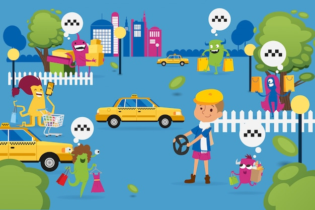 Mostri di natale che comperano e che cercano taxi, illustrazione. bestie con acquisti, sacco di carta in cerca di macchina gialla.