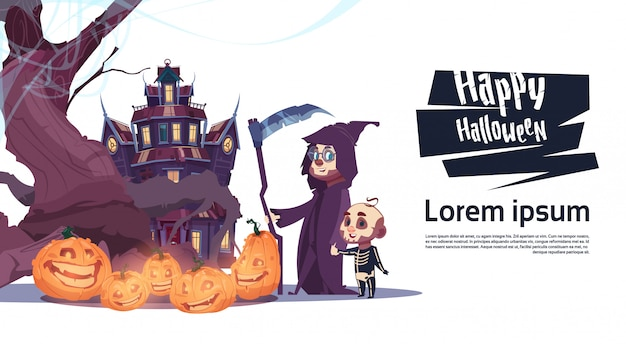 Mostri svegli che camminano per fortificare con il concetto felice di celebrazione del partito dell'insegna di halloween dei fantasmi
