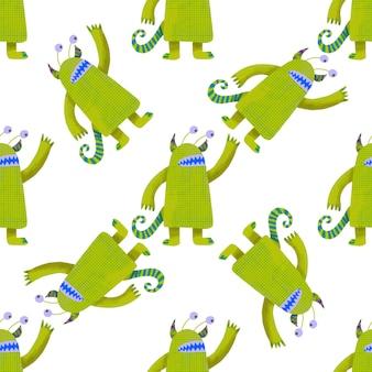 Mostri verdi carino modello senza soluzione di continuità. illustrazione grafica per bambini carta da parati, carta da imballaggio