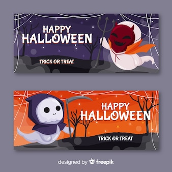 Mostri vestiti da mostri banner di halloween