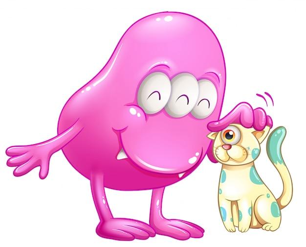 Mostro a cuffia rosa con un gatto con un occhio solo