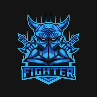 Mostro combattente club e sport logo illustrazione vettoriale