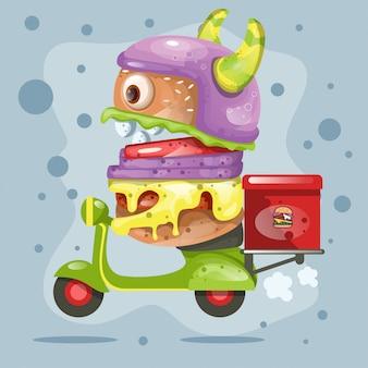 Mostro di hamburger simpatico cartone animato