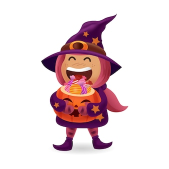 Mostro e fantasma di halloween ragazza costume_cute con costume da strega che trasporta il secchio della zucca di halloween della caramella con fondo isolato
