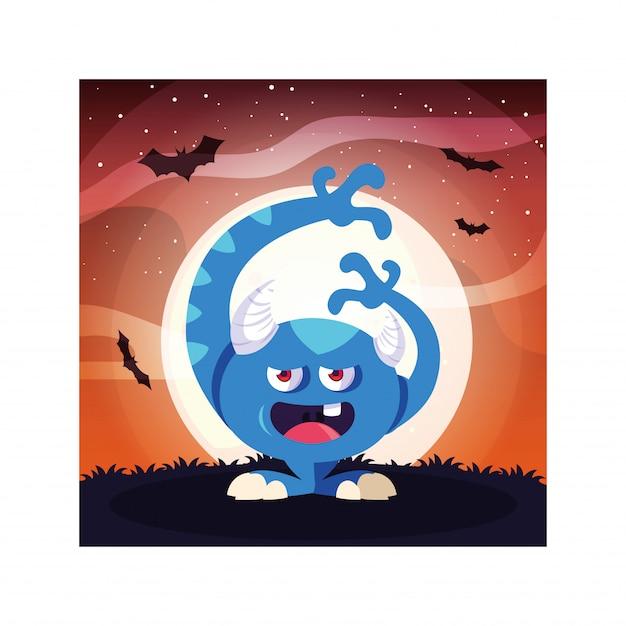 Mostro spaventoso nella notte di halloween, mostro arrabbiato
