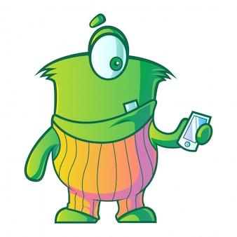 Mostro verde del fumetto che per mezzo del telefono cellulare