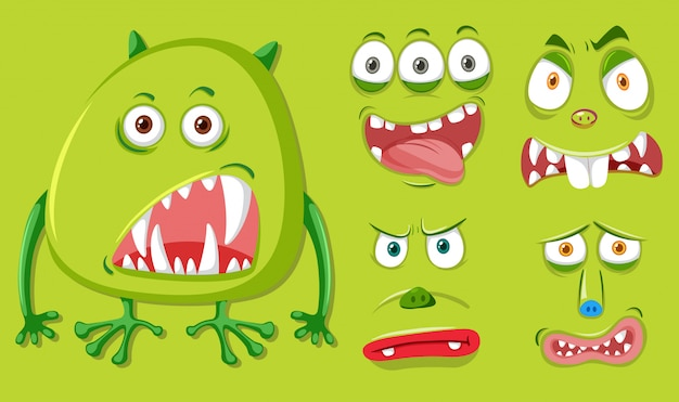 Mostro verde e diversa espressione facciale