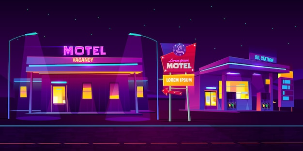 Motel lungo la strada con parcheggio auto e stazione di servizio incandescente di notte con sfondo luminoso neon illuminazione