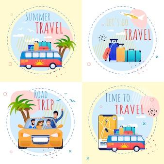Motivational vacation summer set con citazioni di ispirazione. tempo di viaggiare e rilassarsi illustrazione