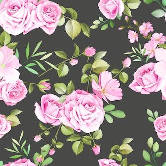 Motivi floreali e foglie senza soluzione di continuità con belle rose