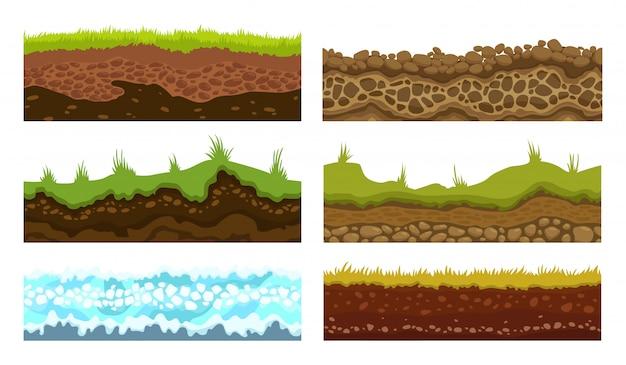 Motivi senza soluzione di continuità, terreni e vettore di terra impostato per i giochi dell'interfaccia utente. illustrazione del ghiaccio della neve dell'erba della pietra dell'acqua di superficie.