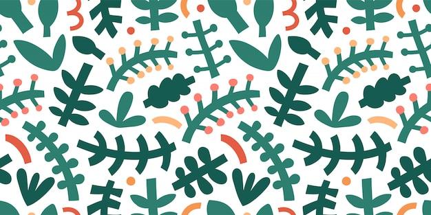 Motivo a fogliame astratto. audaci forme astratte contemporanee e scarabocchi, varie foglie e rami, arte moderna alla moda.