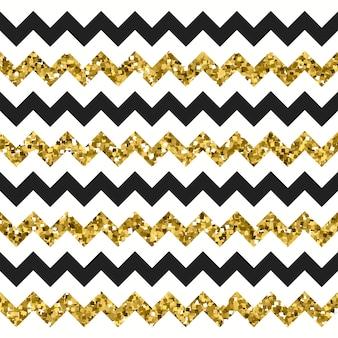 Motivo a zigzag chevron oro scintillante