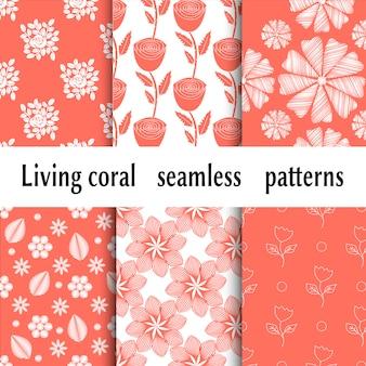 Motivo alla moda con vivaci motivi floreali di corallo. colore corallo vivente