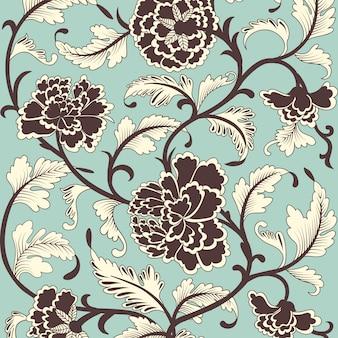 Motivo floreale antico colorato ornamentale.