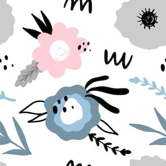 Motivo floreale astratto senza soluzione di continuità. disegnati a mano, piante in stile doodle per imballaggi, tessuti e altri disegni.