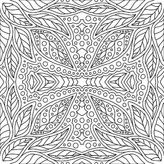 Motivo floreale bianco e nero per libro da colorare