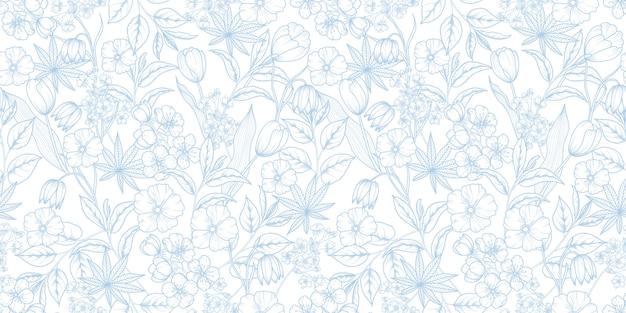 Motivo floreale blu e bianco senza soluzione di continuità
