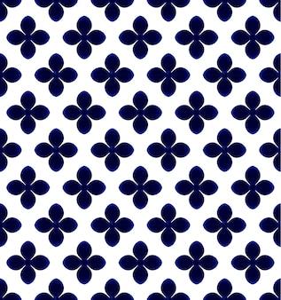 Motivo floreale blu e bianco