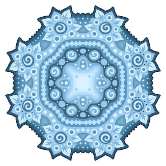 Motivo floreale blu isolato mandala