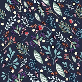 Motivo floreale carino con fiori pastelli rustici colorati