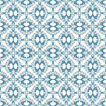 Motivo floreale. carta da parati barocca, damasco. sfondo vettoriale senza soluzione di continuità. ornamento azzurro, blu e bianco
