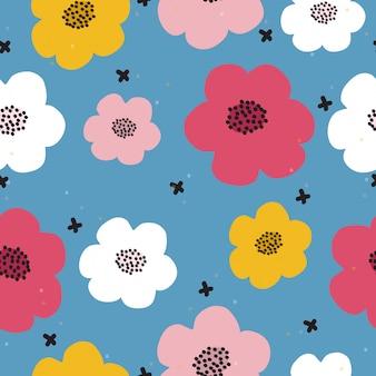 Motivo floreale colorato disegnato a mano senza soluzione di continuità