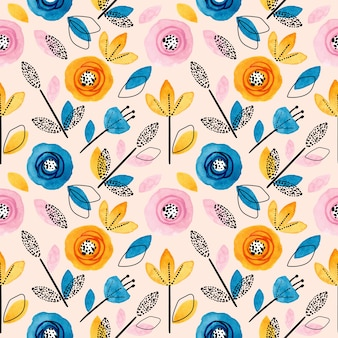 Motivo floreale colorato e foglie senza soluzione di continuità