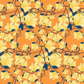 Motivo floreale con fiori e foglie