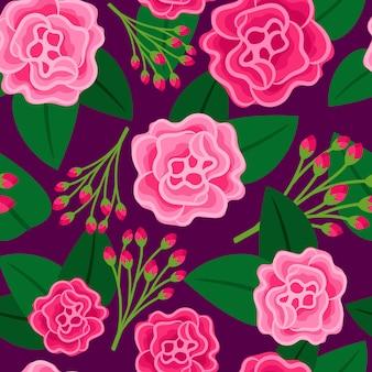 Motivo floreale con grande fiore rosa e boccioli