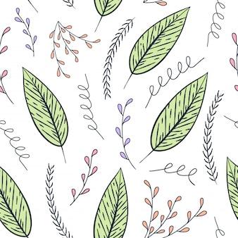 Motivo floreale contorno senza cuciture. struttura floreale variopinta disegnata a mano, foglie decorative