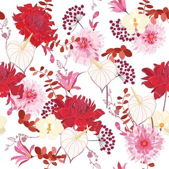 Motivo floreale di fiori botanici