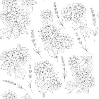 Motivo floreale di fiori di ortensia