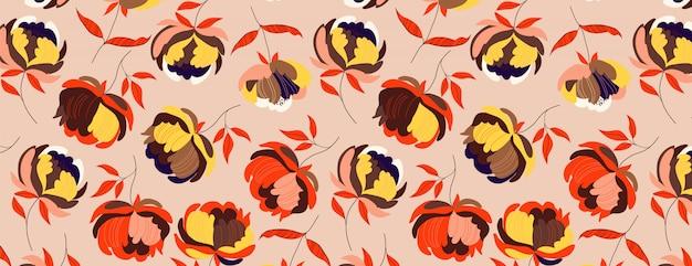 Motivo floreale di grandi peonie autunnali. caldo sfondo senza soluzione di continuità. illustrazione moderna disegnata a mano di grandi capolini con le foglie dell'arancia su un colore solido.