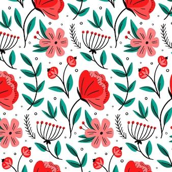 Motivo floreale disegnato colorato